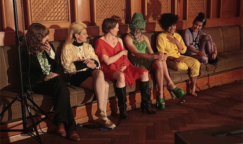 Image: Still from Pauline Boudry/Renate Lorenz, To Valerie Solanas and Marilyn Monroe in Recognition of their Desperation, 2013. Performers: Rachel Aggs, Peaches, Catriona Shaw, Verity Susman, Ginger Brooks Takahashi, William Wheeler