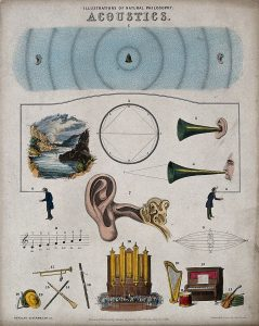 an illustration showing ears, listening horns, organs, instruments and notation