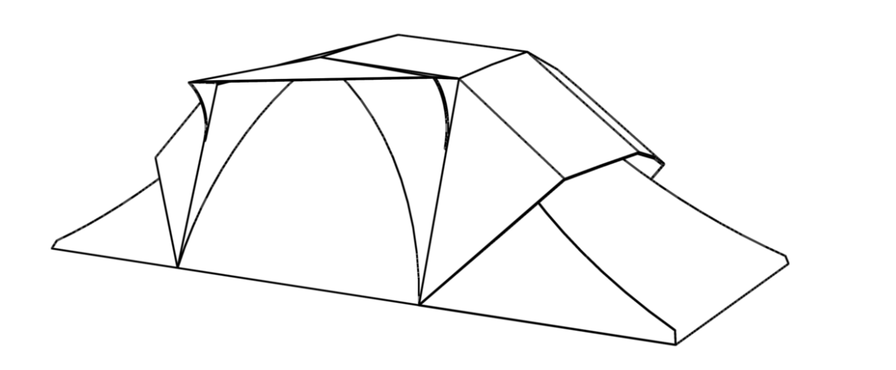 "Line drawing of a tent - image by ""SoundCamp"" organization"