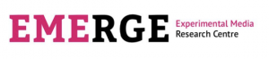 "A logo with black and pink text that reads ""EMERGE Experimental Media Research Centre"""