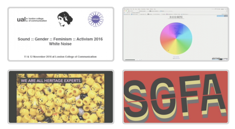 "Four images showing logos, a colour wheel, yellow lego heads and text that reads ""Sound :: gender :: feminism :: activism 2016 white noise, SGFA"""