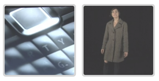 two images in squares side by side, the left image shows a computer keyboard, the right image shows a woman standing infront of a black background