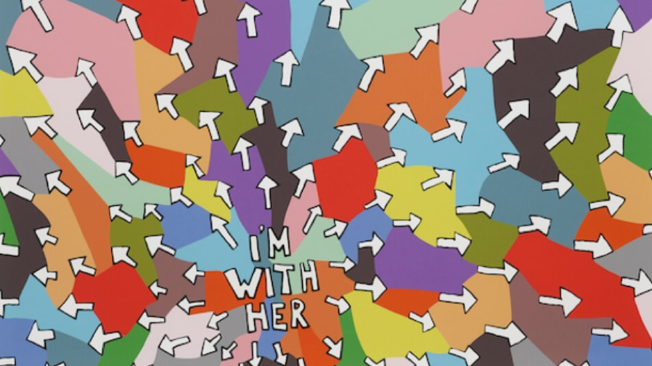 """Im with her"" arrows pointing outwards with coloured shapes"