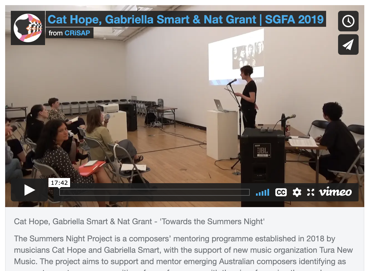 Vimeo screen shot of video 'Cat Hope, Gabriella Smart & Nat Grant - 'Towards the Summers Night'
