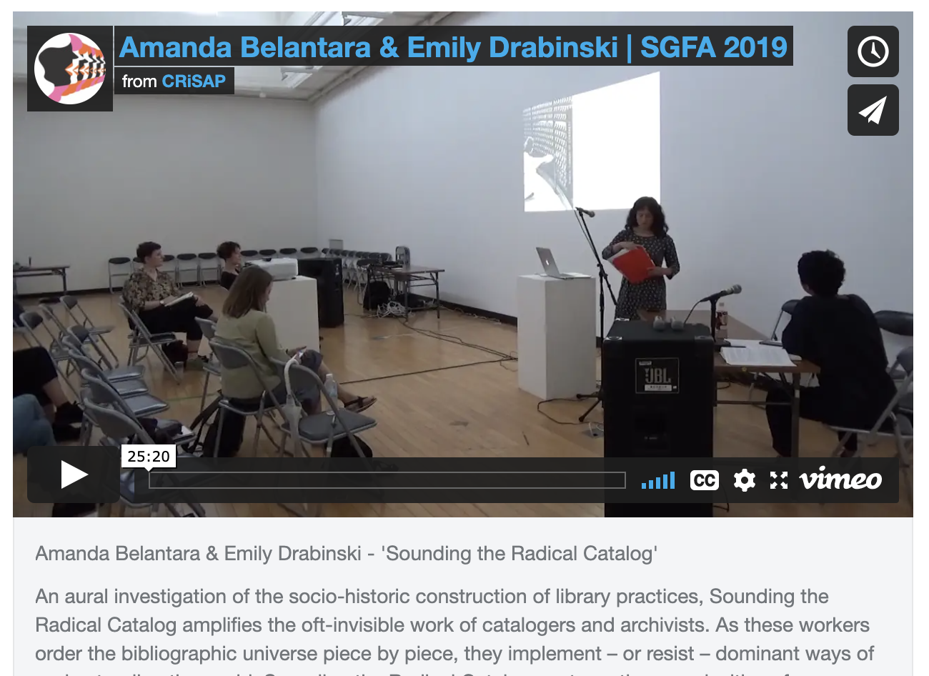 Vimeo screen shot of Amanda Belantara & Emily Drabinski - 'Sounding the Radical Catalog'