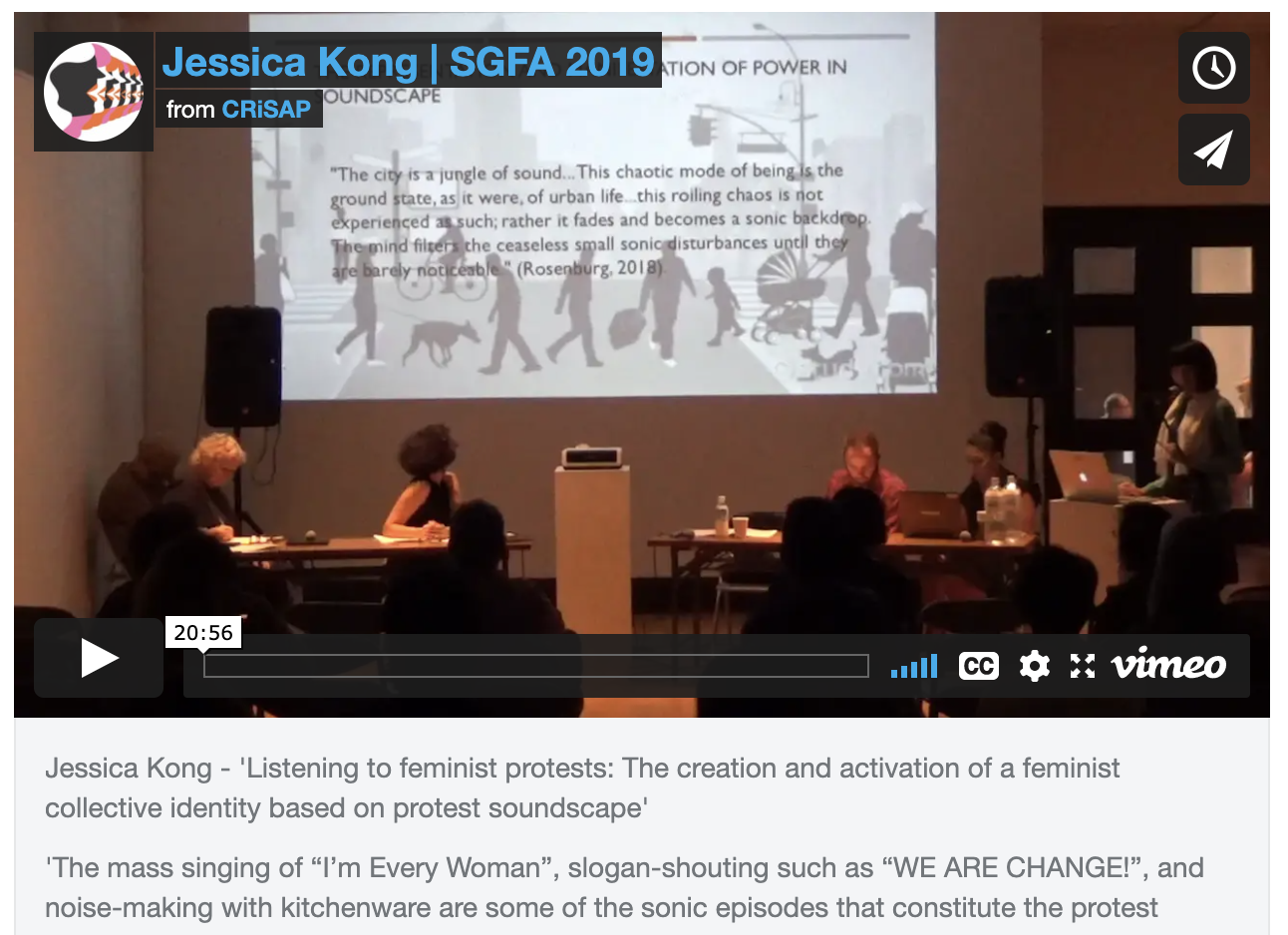 vimeo screen shot of Jessica Kong - 'Listening to feminist protests'