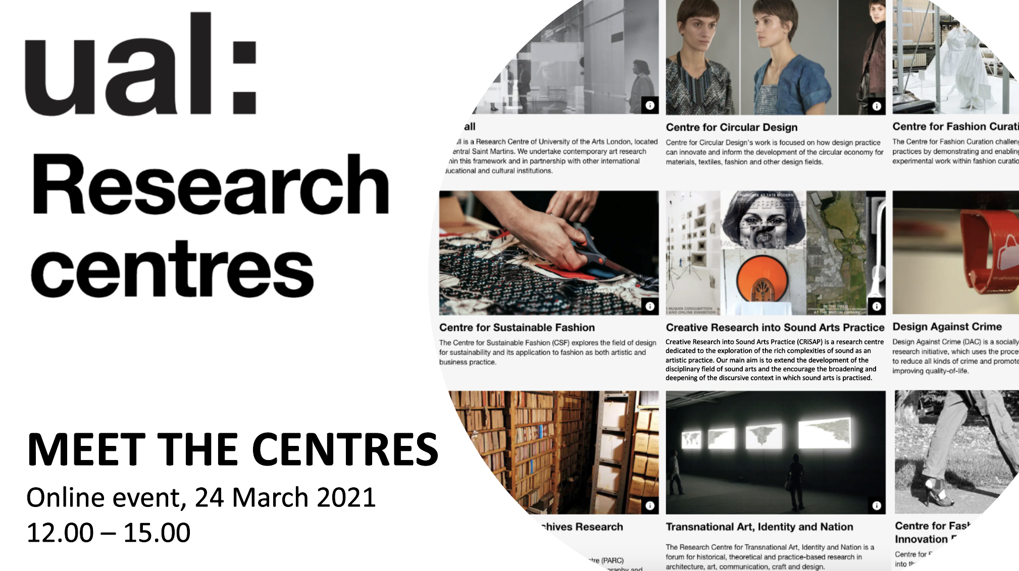 """UAL Research Centres: Meet the Centres"" poster with images for each centre"