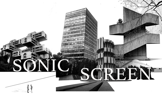 Sonic screen written in white letters over a black and white collage of LCC's building